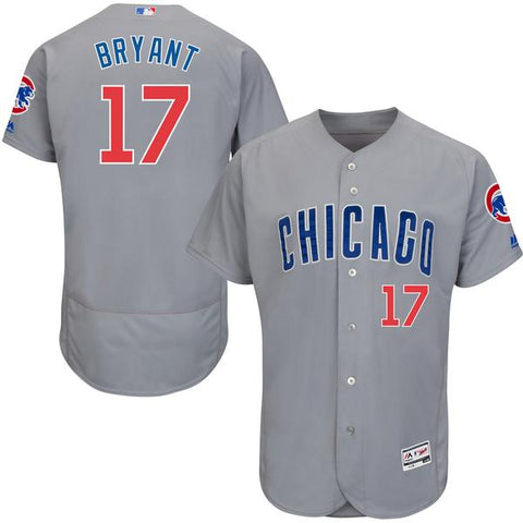 Men's MLB Chicago Cubs Kris Bryant Majestic Road Gray Flex Base Authentic Collection Player Jersey
