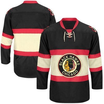 Men's Chicago Blackhawks adidas Black Classic Authentic Throwback Team Jersey