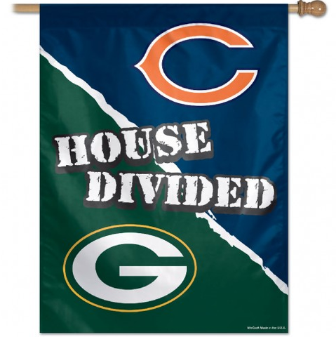 Chicago Bears/Green Bay Packers House Divided 27X37 Vertical Flag-Win