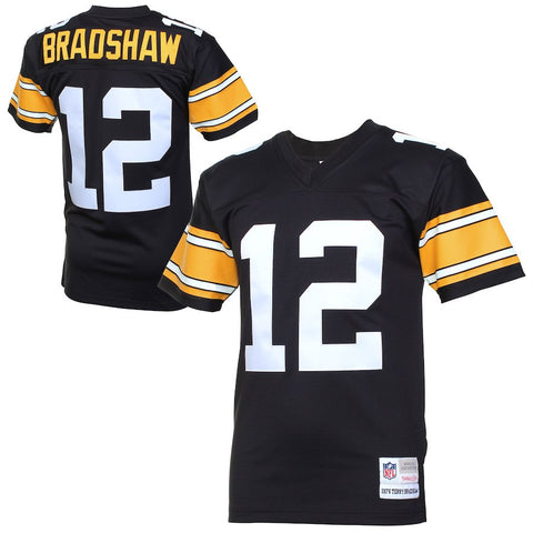 Mens Pittsburgh Steelers Terry Bradshaw Mitchell & Ness Black Retired Player Vintage Replica Jersey