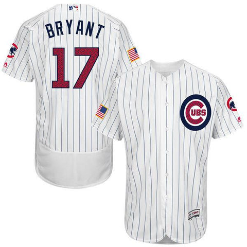 Chicago Cubs Kris Bryant Authentic White Stars & Stripes Flex Base Jersey
