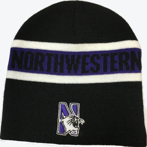 Northwestern Wildcats Colosseum NCAA Beanie Knit-Black