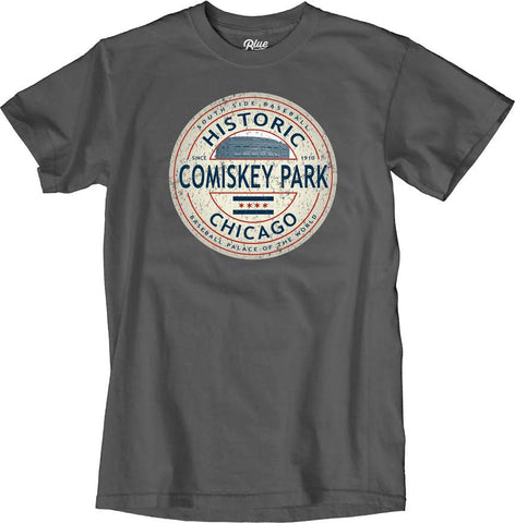 Men's Comiskey Park Historic Stadium Charcoal Gray Tee By Blue 84