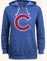 Men's Chicago Cubs Distressed Logo Pullover Hoodie By Majestic Threads