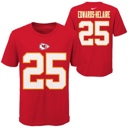 Youth Kansas City Chiefs Clyde Edwards-Helaire Nike Red Player Pride Name & Number T-Shirt