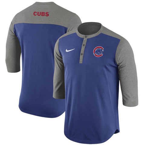 Chicago Cubs Men's Royal Nike Dri Fit Henley 3/4 Sleeve T-Shirt