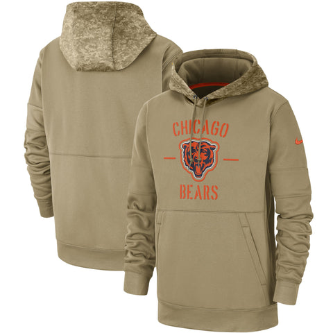 Men's Nike Chicago Bears Tan 2019 Salute to Service Sideline Therma Pullover Hoodie