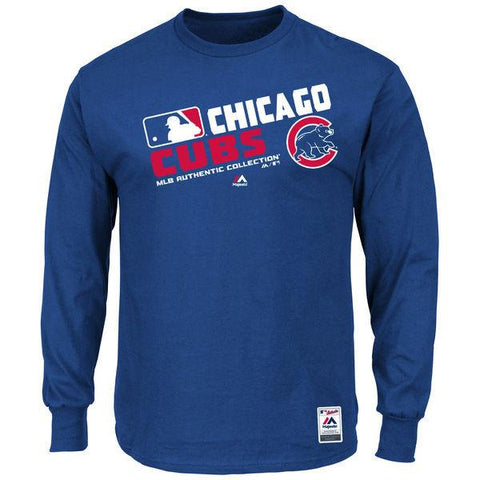 Men's Chicago Cubs Majestic Royal Authentic Collection Team Choice Long Sleeve T-Shirt
