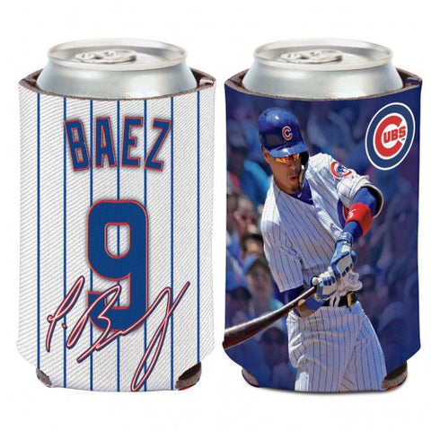Javier Baez Chicago Cubs 2 Sided Pinstripe 12 oz. Can Cooler By Wincraft