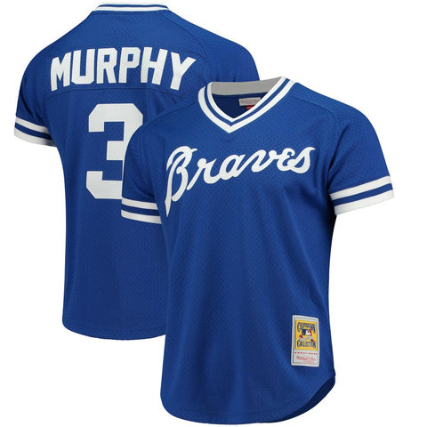 Men's Atlanta Braves Dale Murphy 1981 Mitchell & Ness Royal Cooperstown Mesh Batting Practice Jersey