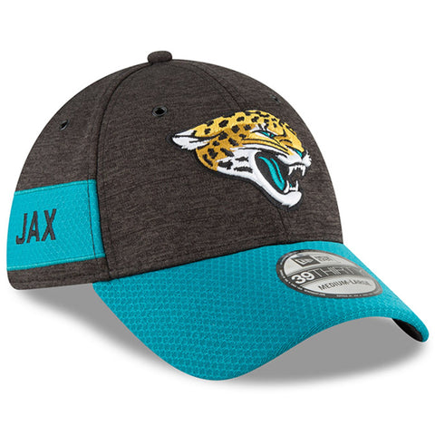 Men's Jacksonville Jaguars New Era Black/Teal NFL18 Sideline Home Official 39THIRTY Flex Hat