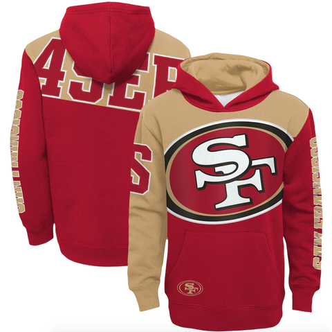 Youth San Francisco 49ers Scarlet/Gold Quarterback Sneak Pullover Hoodie