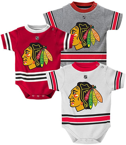 Chicago Blackhawks Baby/Infant Hockey Jersey Style 3 Piece Creeper Set