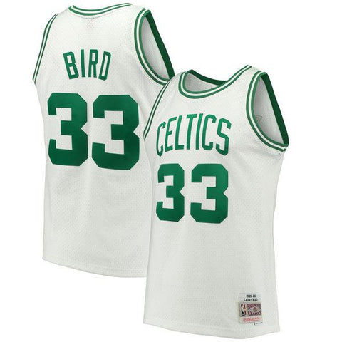 Men's Larry Bird Boston Celtics 1985-86 White Swingman Replica Jersey By Mitchell & Ness