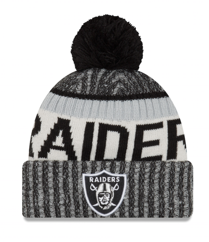 Las Vegas Raiders NFL  Sideline Cuffed Pom Knit Hat By New Era