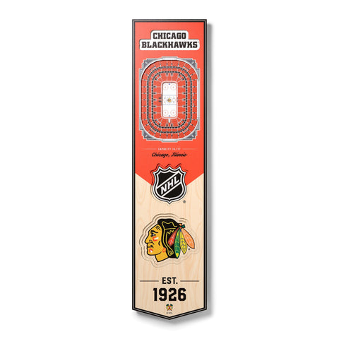 Chicago Blackhawks 8'' x 32'' 3D StadiumView Banner