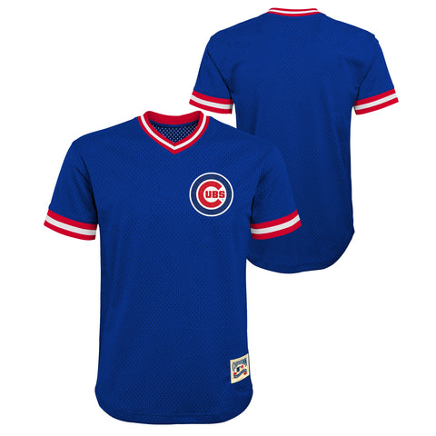 Youth Chicago Cubs Cooperstown Cooperstown Collection Blank Blue V-Neck Mesh Jersey