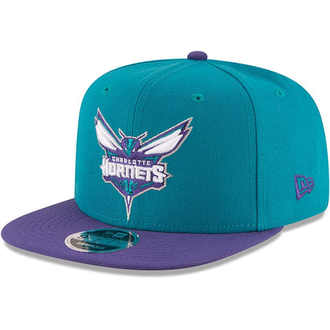 Mens Charlotte Hornets New Era Teal/Purple 2-Tone Original Fit 9FIFTY Adjustable Snapback Hat