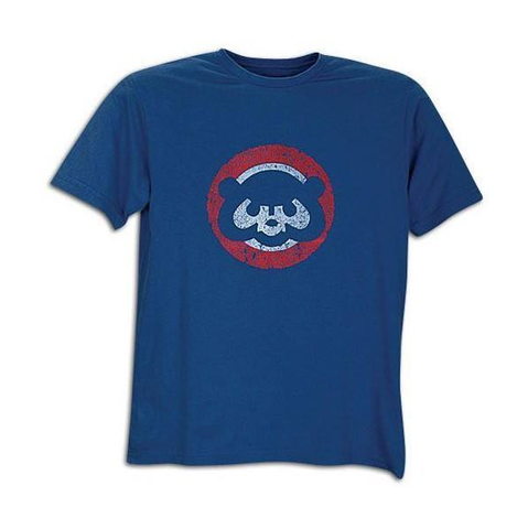 Chicago Cubs Youth Distressed 1984 Logo Vintage Brass Tacks Tee By Wright & Ditson
