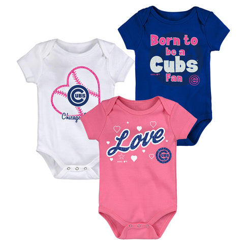 Infant Chicago Cubs Blue/White/Pink Pretty Fan Three-Pack Bodysuit Set