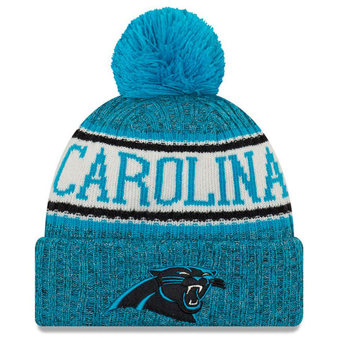 Men's Carolina Panthers New Era Blue NFL18 Sideline Cold Weather Official Sport Knit Hat