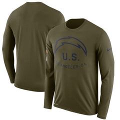 Men's Nike Olive Los Angeles Chargers Salute to Service Sideline Legend Performance Long Sleeve T-Shirt