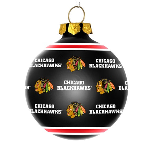 Chicago Blackhawks Official NHL Repeat Glass Ball Christmas Ornament