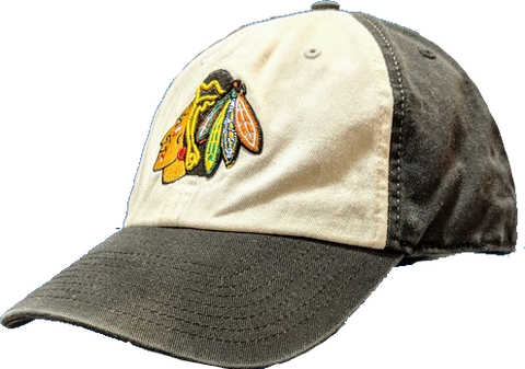 '47 Brand Chicago Blackhawks Black/White Panel Slouch Franchise Fitted Hat