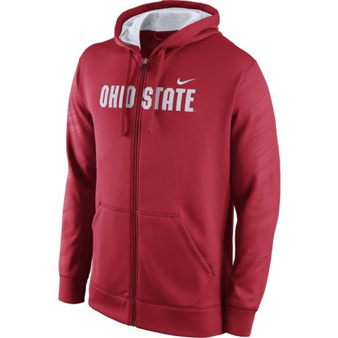 Ohio State Nike KO Therma Fit Zip Up Red Warp Hoodie