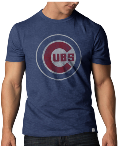 47 Brand Chicago Cubs Bullseye Logo MLB Men's Scrum Premium Blue T-Shirt