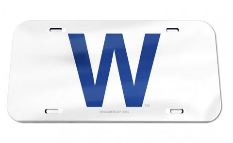 "Chicago Cubs ""W"" Flag Crystal Mirror License Plate By Wincraft"