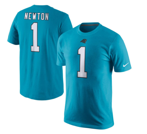 Men's Carolina Panthers Cam Newton Nike Player Pride Name & Number T-Shirt -BLUE