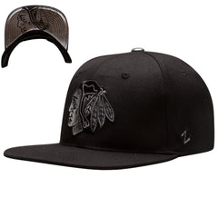 Chicago Blackhawks Black and Silver Mercury Reflective Logo and Under Bill Snap Back Hat