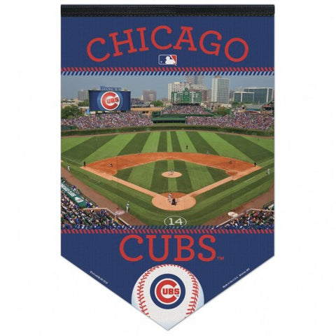 "Chicago Cubs Stadium MLB Premium Felt Banner 17"" x 26"" - Pro Jersey Sports"