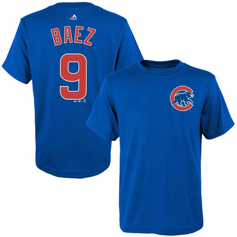 Youth MLB Chicago Cubs Javier Baez Majestic Royal Player Name & Number T-Shirt