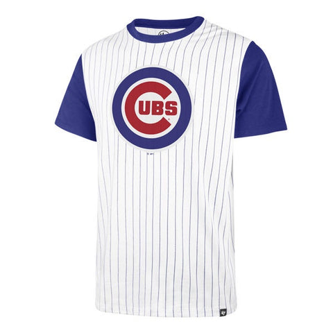'47 Brand Men's Chicago Cubs White Wash Pinstripe Tee