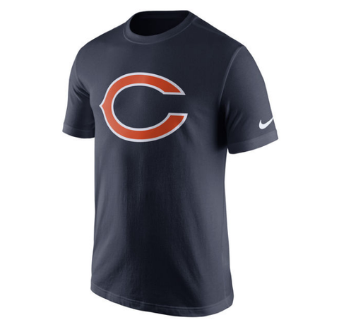 Chicago Bears Navy Essential Logo T-Shirt By Nike