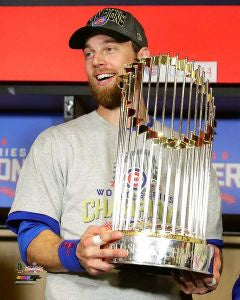 "Ben Zobrist Chicago Cubs 2016 World Series Trophy Photo (Size: 8"" x 10"")"