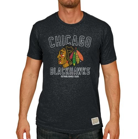 Men's Chicago Blackhawks Charcoal Established Short Sleeve Tee