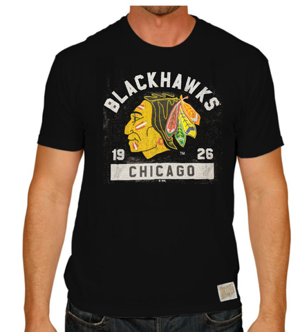 Men's Chicago Blackhawks Retro Brand 1961 Logo Black Tee