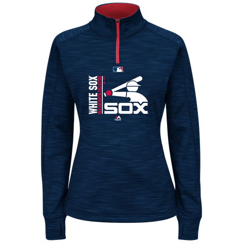 Women's Chicago White Sox Majestic MLB Navy On-Field Icon 1/4 Zip Sweatshirt