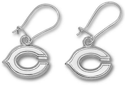 LogoArt Chicago Bears Sterling Silver Team Logo Dangle Earrings