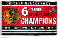 Chicago Blackhawks Stanley Cup 6X Champions 3X5 Flag