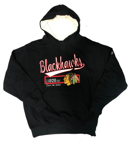 Chicago Blackhawks Adult HARLEY Pullover Fleece Hooded Sweatshirt By Old Time Hockey