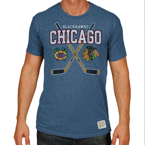 Men's NHL Chicago Blackhawks Heather Blue Cross Sticks Tee By Retro Brand
