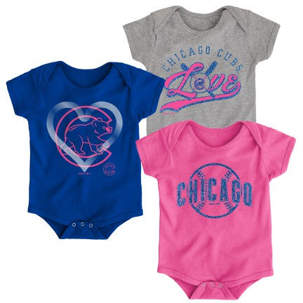 Infant Girls Chicago Cubs MLB Cute Catcher Short Sleeve Creeper Set