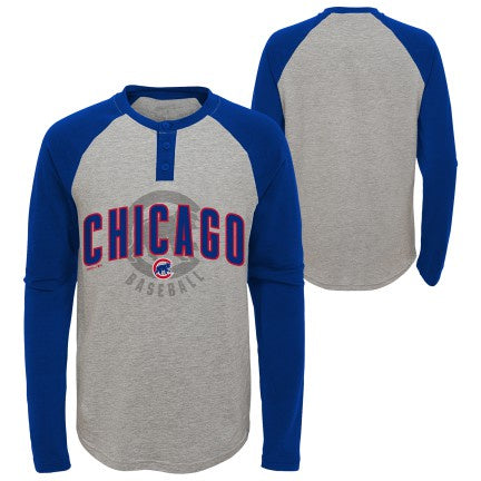 Youth Chicago Cubs MLB American Athletic Raglan Long Sleeve Henley Tee