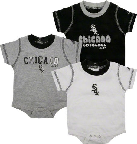 adidas Chicago White Sox Newborn/Infant 3-Pack Creeper Set