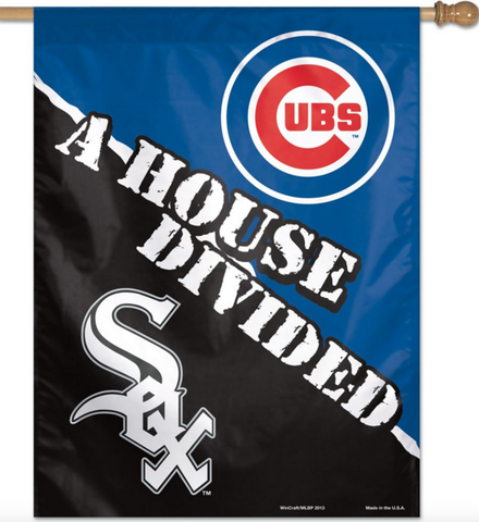 "Chicago Cubs / Chicago White Sox Vertical Flag 28"" x 40"" House Divided"