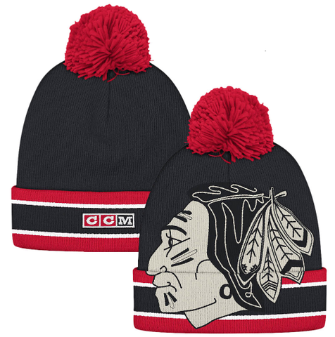 Men's Chicago Blackhawks CCM Vintage NHL Cuffed Pom Knit Beanie Hat